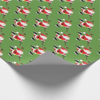 Hockey Santa Skating Wrapping Paper