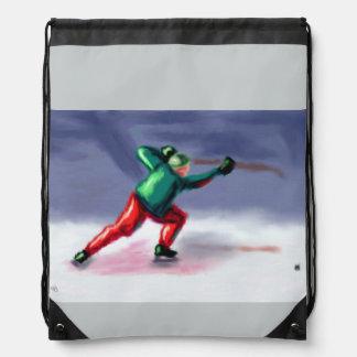 Hockey Shoot and Chase Art Drawstring Backpack