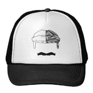 Hockey 'Stache Black & White TRUCKER HAT