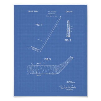 Hockey Stick 1966 Patent Art - Blueprint Poster