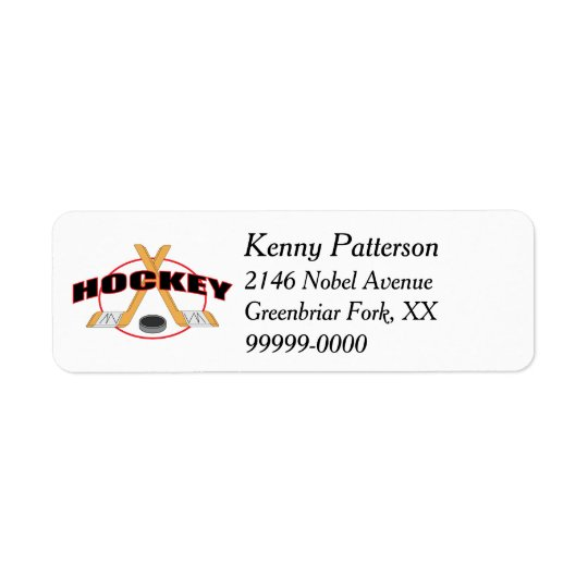 Hockey Sticks and Puck 4 Line Return Address Label