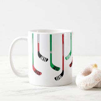 Hockey Sticks Red & Green Christmas Coffee Mug