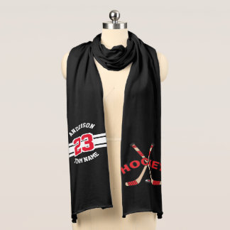 Hockey Sticks Red with Number, Name and Team Scarf