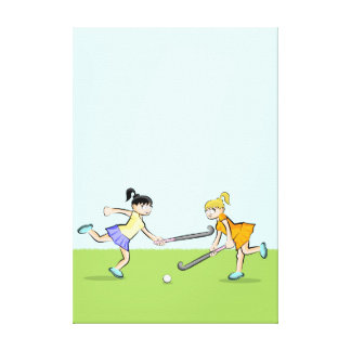 Hockey two children faced by the ball canvas print