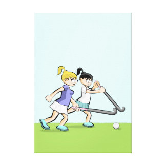 Hockey two children in the heat of action canvas print