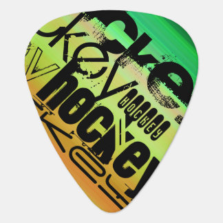 Hockey; Vibrant Green, Orange, & Yellow Plectrum