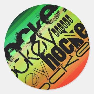 Hockey; Vibrant Green, Orange, & Yellow Round Sticker