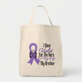 Hodgkins Lymphoma Ribbon My Hero My Brother Canvas Bags