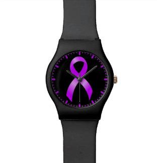 Hodgkins Lymphoma Violet Ribbon Watch
