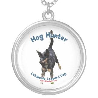 Hog Hunter Catahoula Dog Silver Plated Necklace