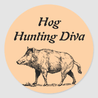 Hog  Hunting Diva Classic Round Sticker