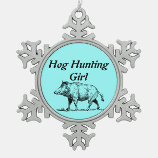 Hog Hunting Girl Snowflake Pewter Christmas Ornament