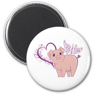 Hogg and Kisses, Cute little pink pig digital art Magnets