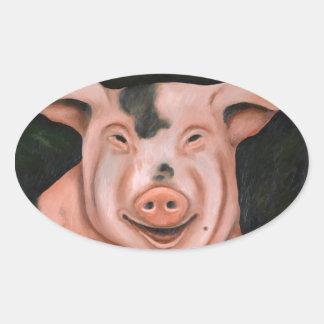 Hogging The Moonshine Oval Sticker