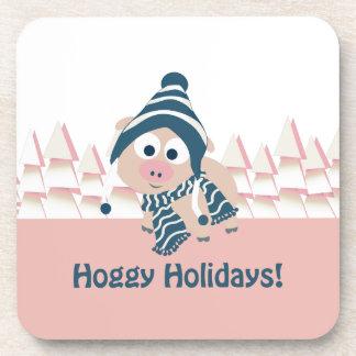 Hoggy Holidays! Winter scene Coaster