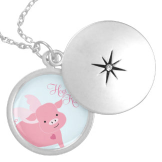 """""""Hogs and Kisses"""" Cute Flying Pig Locket Necklace"""