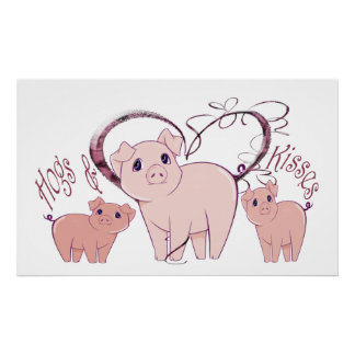 Hogs and Kisses, Cute Pigs Art Poster