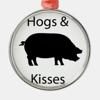 hogs and kisses metal ornament