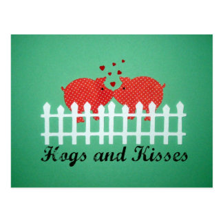 Hogs and Kisses Postcard