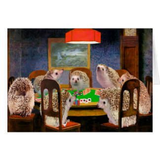 Hogs Playing Poker Hedgehog Art Card
