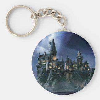 Hogwarts Castle At Night Basic Round Button Key Ring