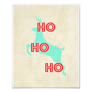hohoho reindeer red blue vintage christmas photo