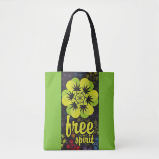 Hoja colores arcoiris free spirit. Vector plant. Tote Bag