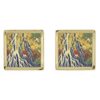 Hokasai Vintage Japanese Fine Art Gold Finish Cufflinks