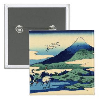 Hokusai Art painting Mountains 15 Cm Square Badge