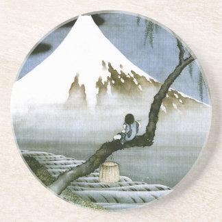 Hokusai Boy and Mt.Fuji Vintage Japanese Drink Coaster