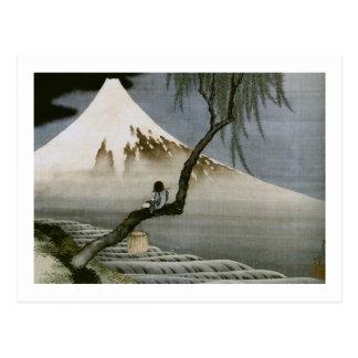 Hokusai Boy and Mt.Fuji Vintage Japanese Post Card