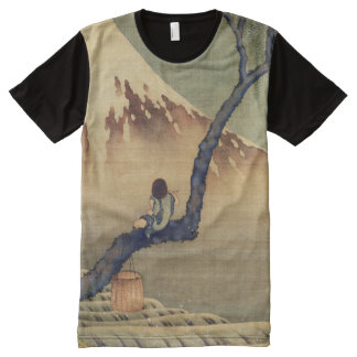 Hokusai Boy Viewing Mount Fuji Japanese Vintage All-Over Print T-Shirt