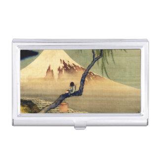 Hokusai Boy Viewing Mount Fuji Japanese Vintage Business Card Holder