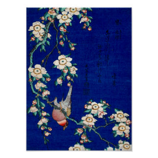 Hokusai Bullfinch on a Weeping Cherry Branch Poster