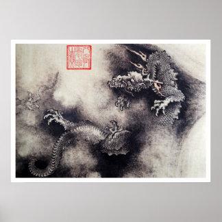 Hokusai - Dragon Scrolls Poster