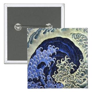Hokusai Feminine Wave Japanese Vintage Fine Art 15 Cm Square Badge