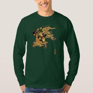 Hokusai Flying Warrior Riding Snow Leopard Dragon T-Shirt