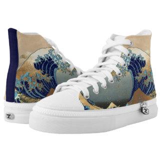 Hokusai Great Waves at Kanagawa High Tops