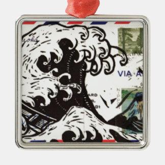 HOKUSAI JAPAN WAVE Silver-Colored SQUARE DECORATION