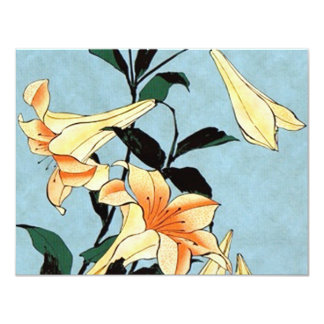 Hokusai Japanese Lilies Invitations