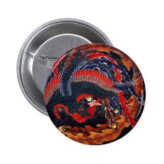 Hokusai Japanese Phoenix Button