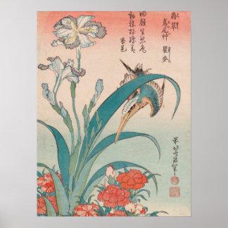 Hokusai Kingfisher Iris and Wild Pinks GalleryHD Poster