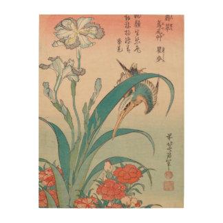 Hokusai Kingfisher Iris and Wild Pinks GalleryHD Wood Prints