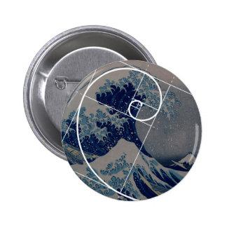 Hokusai Meets Fibonacci, Golden Ratio 6 Cm Round Badge