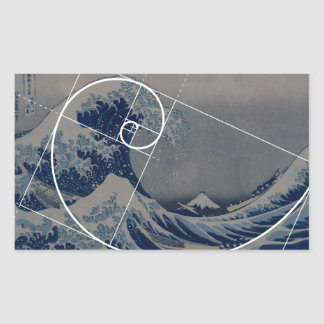 Hokusai Meets Fibonacci, Golden Ratio Rectangular Sticker