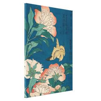 Hokusai Peonies and Canary Vintage Art GalleryHD Canvas Print