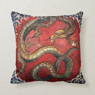 Hokusai Red Dragon Cushion