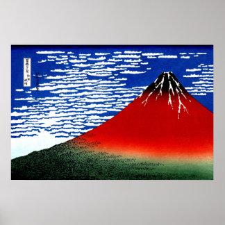 Hokusai Red Fuji Bright Version High Resolution Poster