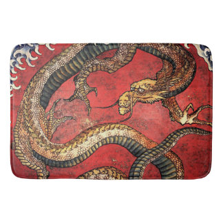 Hokusai Red Water Dragon Bath Mat