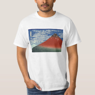 Hokusai South Wind Clear Sky Red Fuji T-shirt